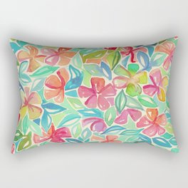 Tropical Floral Watercolor Painting Rectangular Pillow