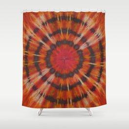 Tie Dye Black Ring Red Orange Stripe Shower Curtain