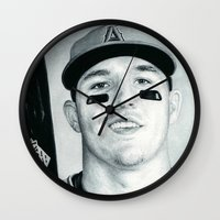 trout Wall Clocks featuring Mike Trout by emilypaints