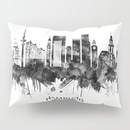 Hamburg Germany Skyline BW Pillow Sham