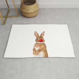 Bunny with red Clown Nose Rug
