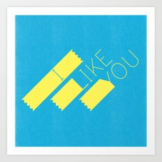 I Like You Graphik: Yellow Type Art Print