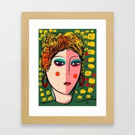 Green Portrait French Girl Art Framed Art Print