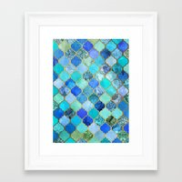 wallpaper Framed Art Prints featuring Cobalt Blue, Aqua & Gold Decorative Moroccan Tile Pattern by micklyn