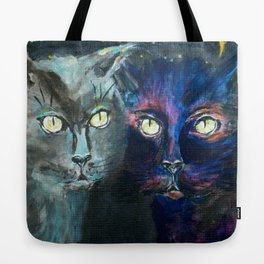 They Meet in the Night (Cats) Tote Bag