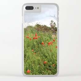 Poppies on a Hill Clear iPhone Case