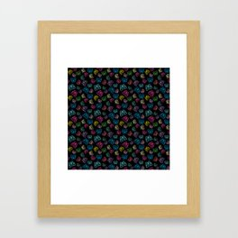 I Love Butterflies Black Background Framed Art Print