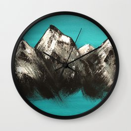 Turquoise Mountains by Noelle's Art Loft Wall Clock
