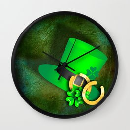 Symbols of luck on green textured background Wall Clock