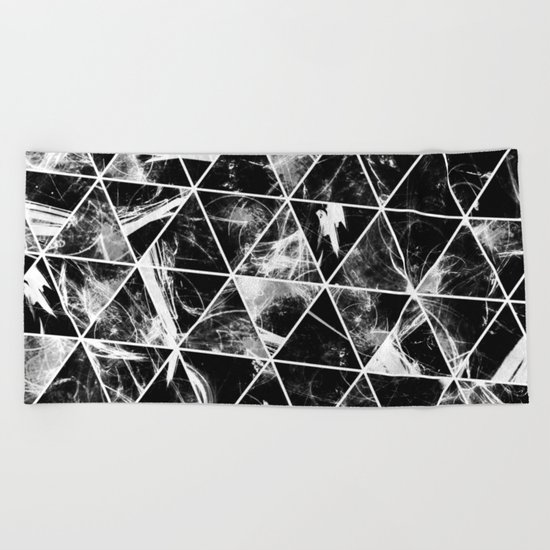 Geometric Whispers - Abstract, black and white triangular, geometric pattern Beach Towel