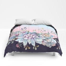 Succulent full moon Comforters