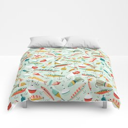 Fishing Lures Light Blue Comforters