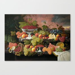 Two-Tiered Still Life with Fruit and Sunset Landscape Canvas Print