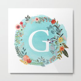 Personalized Monogram Initial Letter G Blue Watercolor Flower Wreath Artwork Metal Print