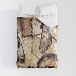 Facing Horses // Chauvet Cave Art Comforters