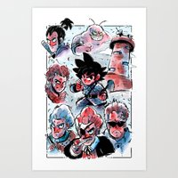 dragonball Art Prints featuring Dragonball - Muscle Tower  by Toonimated