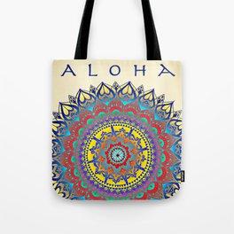 """Vintage Inspired """"Aloha"""" Mandala Print Tote Bag"""