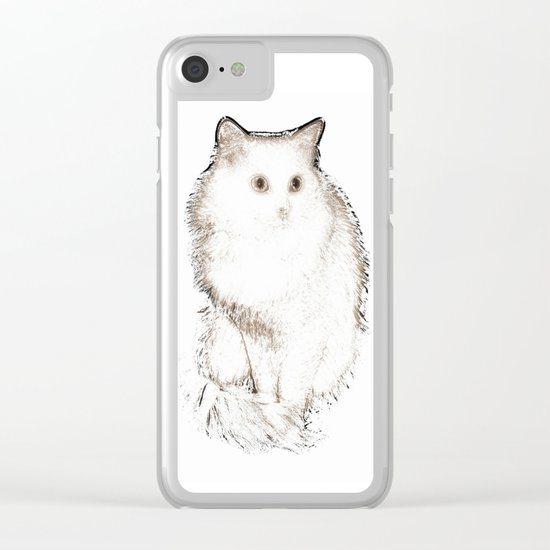 Silent Enquiry-white&sepia Clear iPhone Case