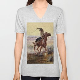 """""""On the Pond"""" by Charles M Russell Unisex V-Neck"""