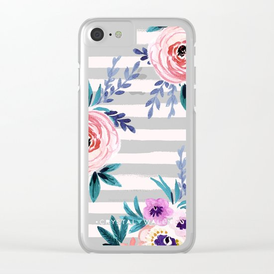 Victoria Blushing Stripe Clear iPhone Case