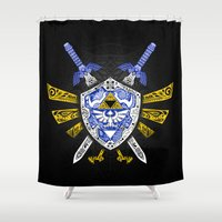 the legend of zelda Shower Curtains featuring Heroes Legend - Zelda by Art & Be