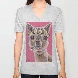 Alpaca Art, Alpaca Flower Crown Unisex V-Neck