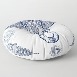 Bohemian Elephant Tribal Boho Gradient Blue Floor Pillow