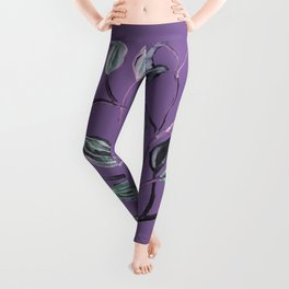 Silky Lavender Greenery Leaves Leggings