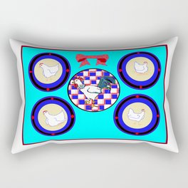 A Country Wall of Plates with Chickens and a Bow with Blue back Rectangular Pillow