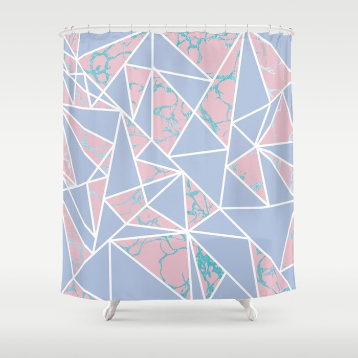 Geometric Pastel Blue Coral Abstract Triangles Marble Shower Curtain By Pink Water