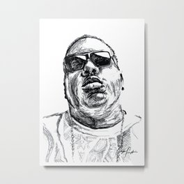 Digital Drawing 33 - Notorious B.I.G. Black and White Metal Print