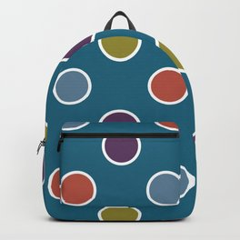 Geometric Candy Dot Circles In Brown Purple Blue Green Backpack