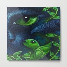 MERMAID CAT & TURTLE Metal Print