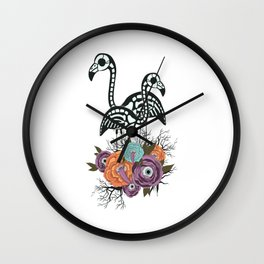 Flamingo Skeleton With Halloween Flowers Wall Clock