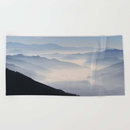 Blue Valley #mountains Beach Towel