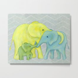 Elephant Family of Three in Yellow, Blue and Green Metal Print