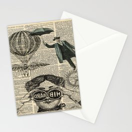 newspaper print dictionary page binoculars hot air balloon victorian steampunk Stationery Cards