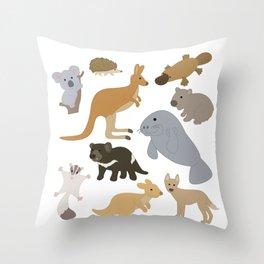 Animals of Australia, Australian Animal Lover, Koala, Dingo, Sugar Glider, Platypus, Hedgehog, Throw Pillow
