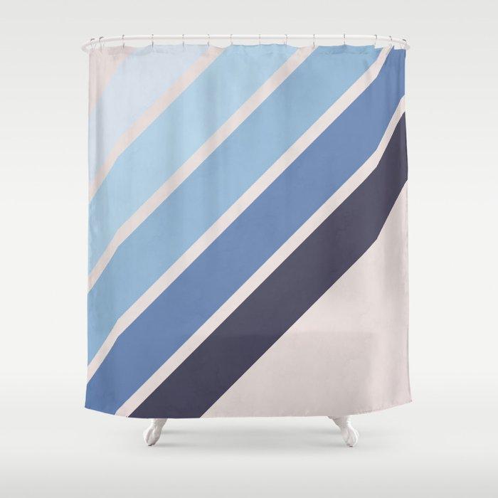 Blue Color Drift Shower Curtain
