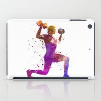 workout iPad Cases featuring Man exercising weight training workout fitness by Paulrommer