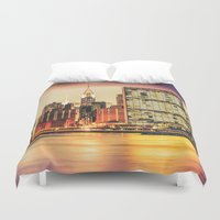 new york city Duvet Covers featuring New York City Skyline by Vivienne Gucwa