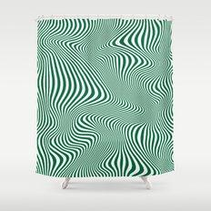 DISTORTION GREEN Shower Curtain