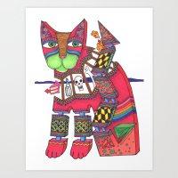 Magenta Window Zen Cat Art Print