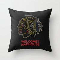 blackhawks Throw Pillows featuring Madhouse Chicago Blackhawks by beejammerican