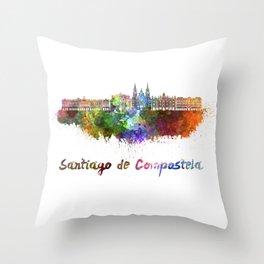 Santiago de Compostela skyline in watercolor Throw Pillow