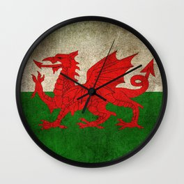 Old and Worn Distressed Vintage Flag of Wales Wall Clock