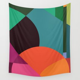 Pink Sunsets Geometric Abstract - Bybrije Wall Tapestry