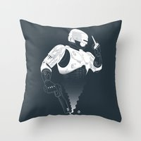 robocop Throw Pillows featuring Robocop by Alain Bossuyt