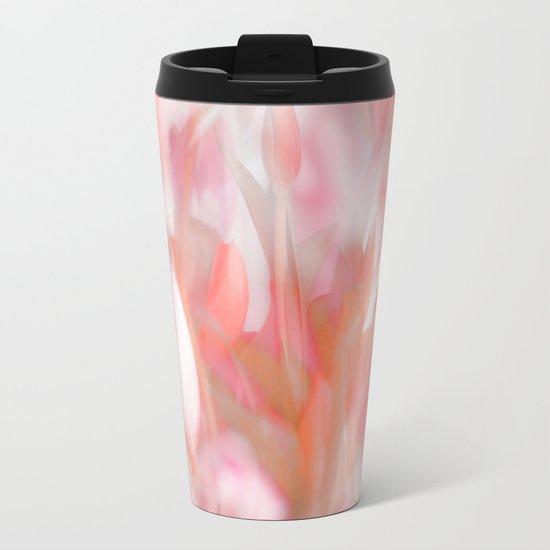 Pink Tulips Abstract Nature Spring Atmosphere Metal Travel Mug