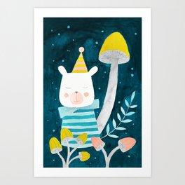 polar bear botanical night illustration Art Print